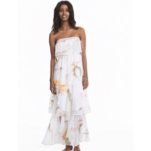 White House Black Market Floral Tiered Maxi Dress